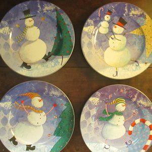 Snowman Plates set of 4 Oneida Snow Pals